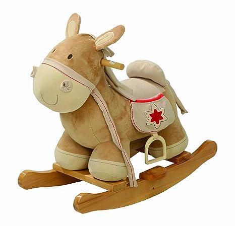 Caballo balancin Roba, balancin de madera tapizado, asiento con estribo, juguete balancin utilizable