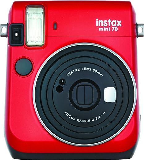 Oferta amazon: Fujifilm Instax Mini 70 - Cámara analógica instantánea (ISO 800, 0.37x, 60 mm, 1:12.7, flash automático, modo autorretrato, exposición automática, temporizador, modo macro), rojo pasión