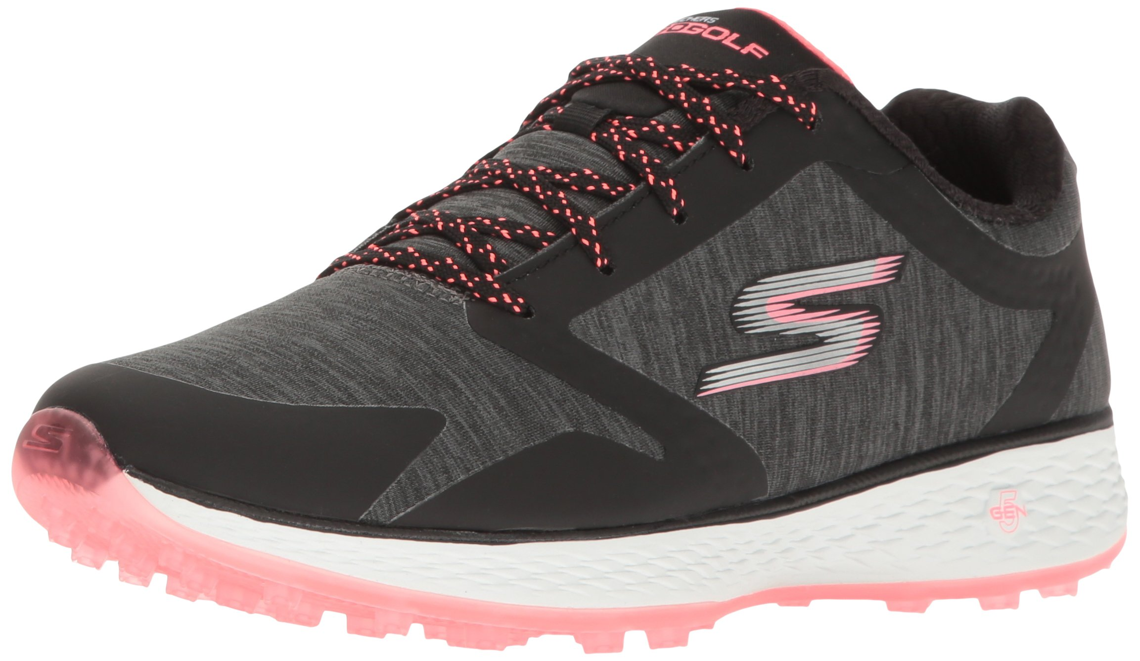 Skechers Performance Women's Go Golf Elite 2 Famed Golf Shoe, Black/Hot Pink Heathered, 8.5 M US