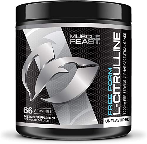 MUSCLE FEAST L – Citrulline, Free Form, Decrease Fatigue, Increase N.O, Optimize Athletic Performance, 66 Servings, Unflavored 200 Grams