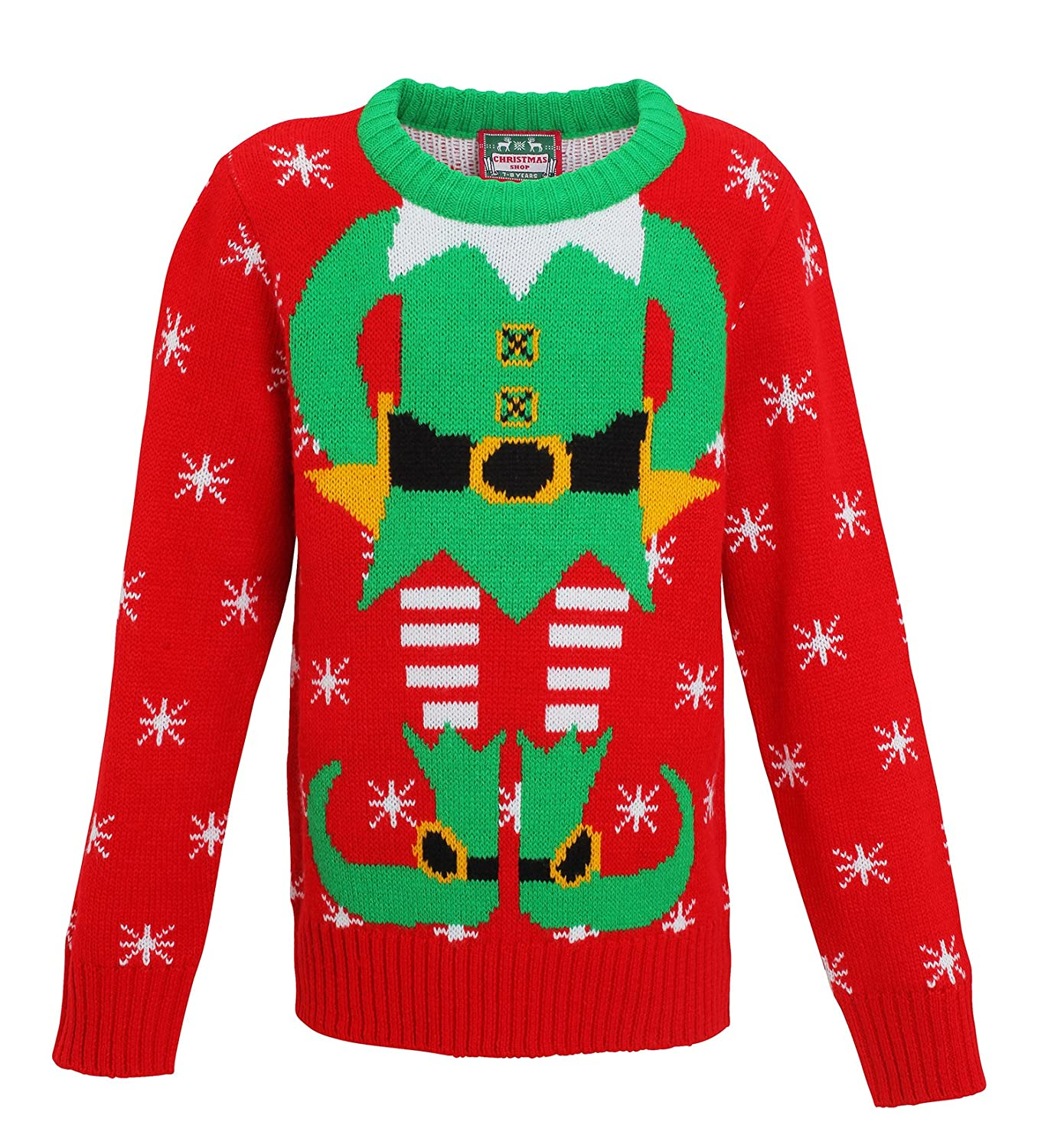 Christmas Elf Kids Unisex Knitted Jumper - Ages 2-12 Years