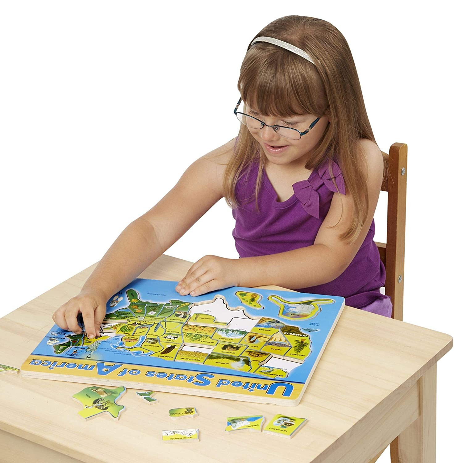 Easy to Assemble Puzzle Teaches Problem Solving, Geography and Shapes, 45 Pieces