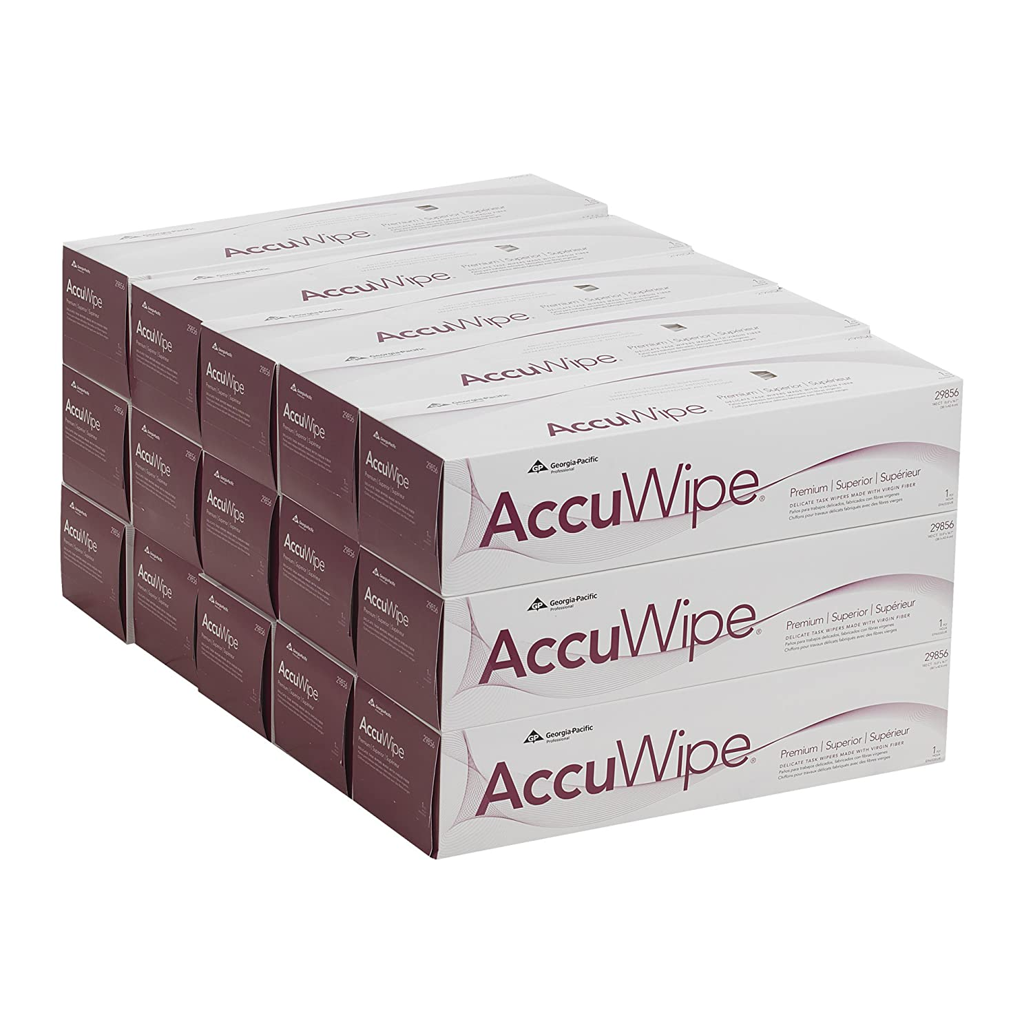 Georgia-Pacific AccuWipe 29856 White Virgin Fiber Premium 1-Ply Technical Cleaning Wipers 15 Boxes of 140 15 Width x 16-11//16 Length