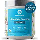 Amazing Grass GLOW Vegan Collagen Support with Biotin and Plant Based Protein Powder, Vanilla Honeysuckle, 15 Servings