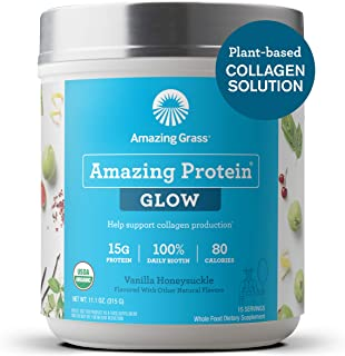 product image for Amazing Grass GLOW Vegan Collagen Support with Biotin and Plant Based Protein Powder, Vanilla Honeysuckle, 15 Servings