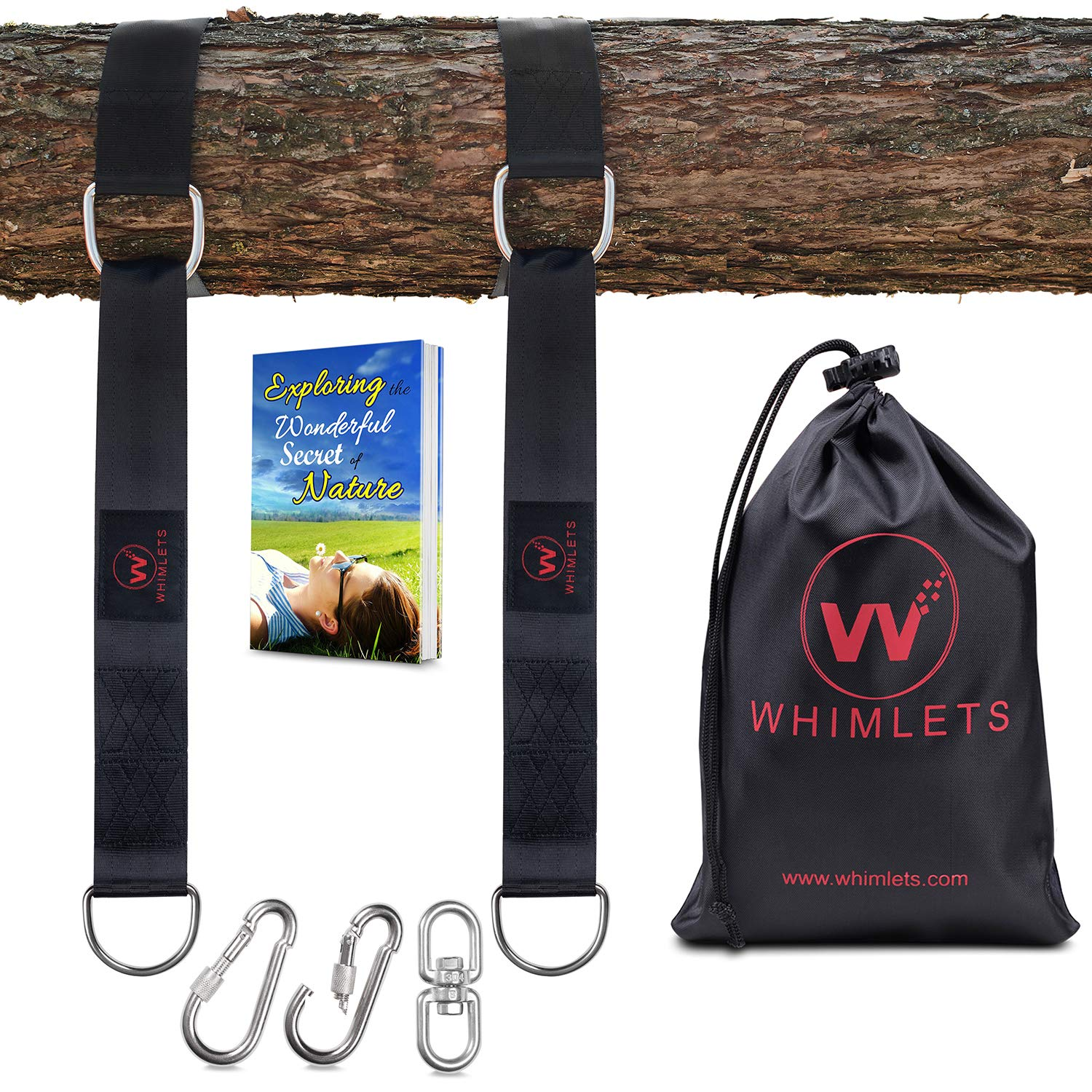Whimlets Tree Swing Straps Hanging Kit - 2 Straps Perfect for Tree Swings and Hammocks(10ft Black) by Whimlets