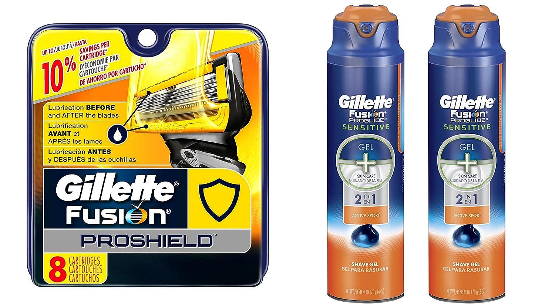 Gillette Fusion ProShield Bundle (8 Razor Blades and 2 Shave Gels)