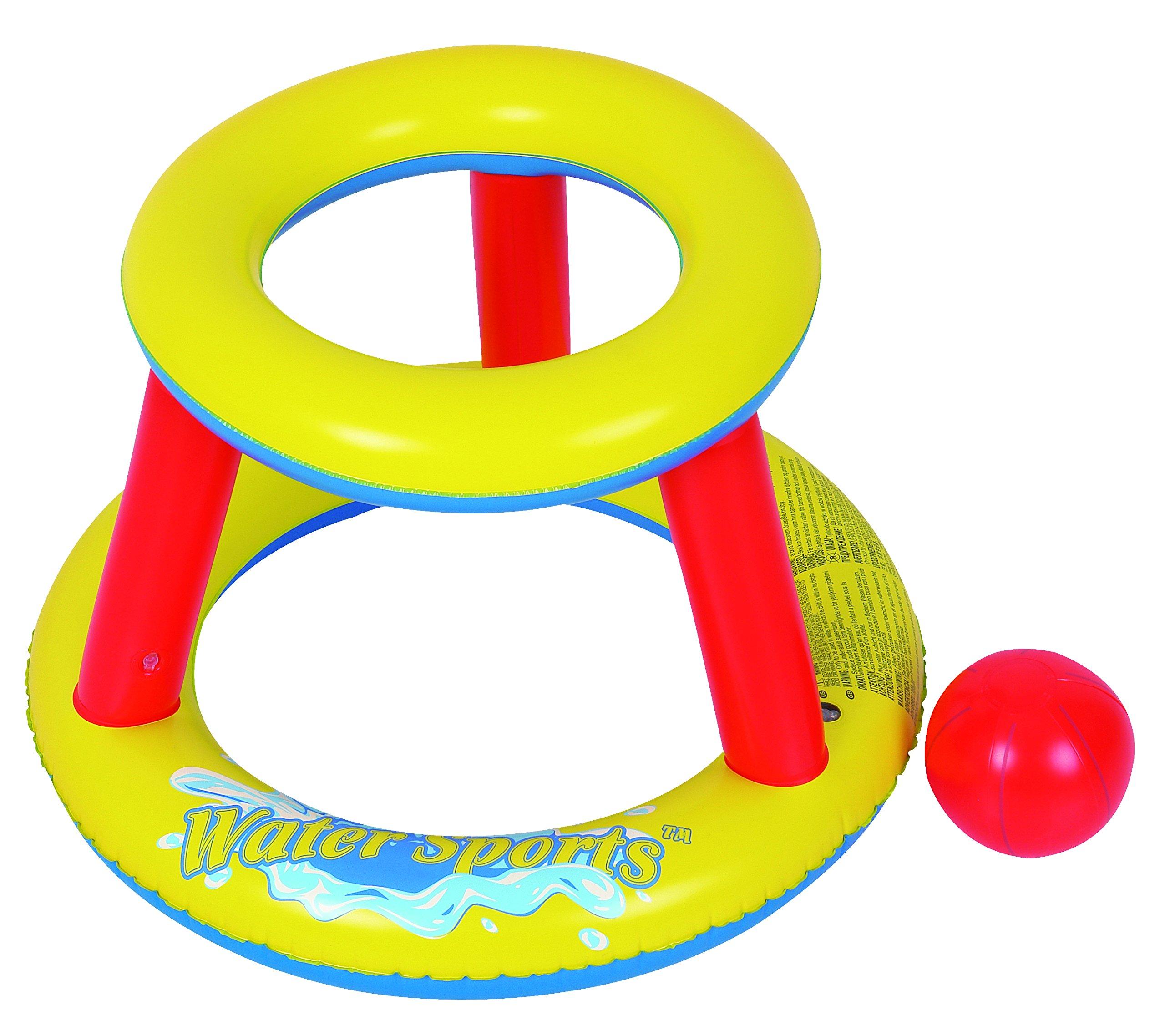 RhinoMaster Play Mini Splashketball Pool Basketball, Yellow, Red, 29'' L x 29'' W x 20.5'' H