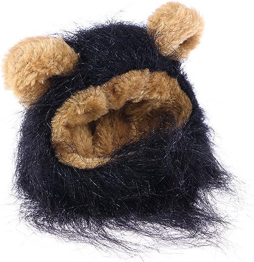 UEETEK Mascota Disfraz León Melena Peluca Leon para Gato Perro Pequeño Ajustable Negro: Amazon.es: Productos para mascotas