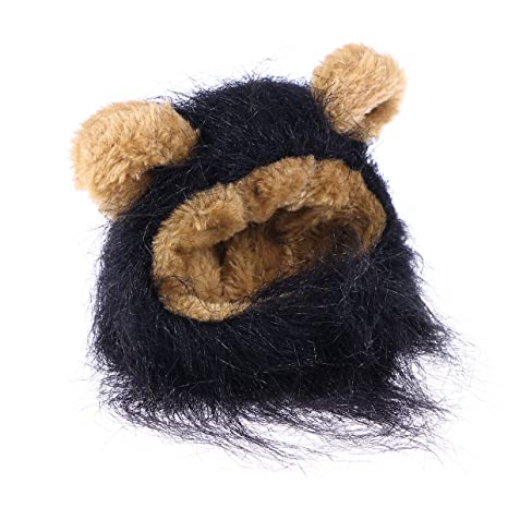 UEETEK Mascota Disfraz León Melena Peluca Leon para Gato Perro Pequeño Ajustable Negro