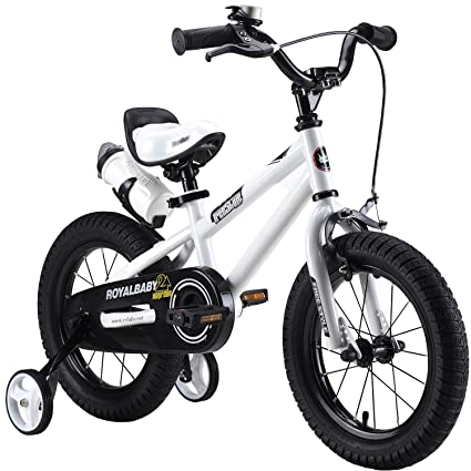 "ROYAL BABY FREESTYLE KIDS BIKES WITH STABILIZERS IN SIZE 12"" WHITE +WATER BOTTLE AND HOLDER."