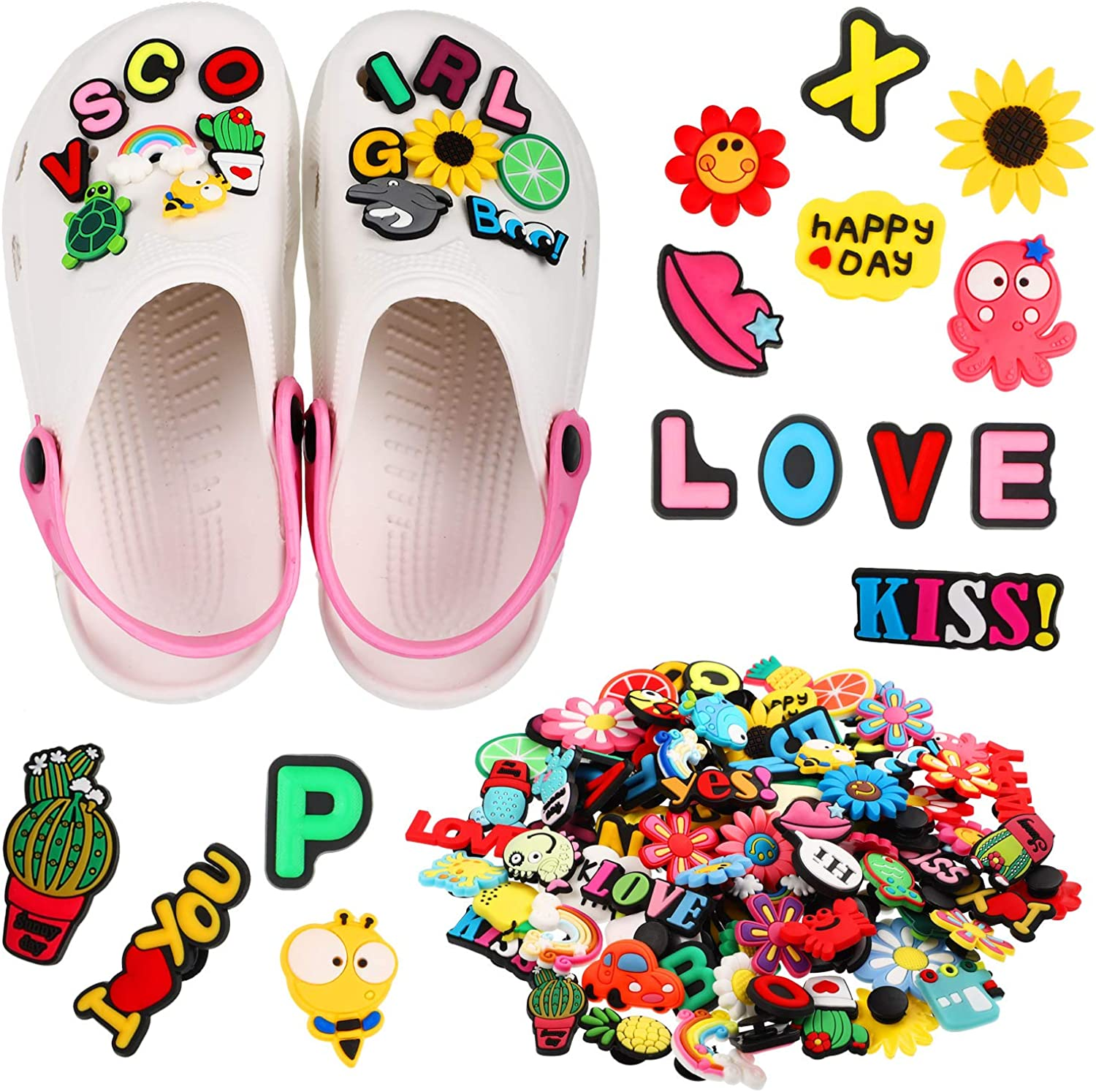 100 Pieces Different Shape Shoes Charms with Number Letter Flower Turtle Decorations for Shoes Wristband Bracelet Party Supplies