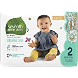 Seventh Generation Baby Diapers, Free and Clear for Sensitive Skin, with Animal Prints, Size 2, 180 Count (Packaging May Vary)