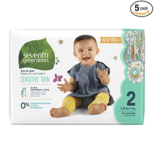 Seventh Generation Baby Diapers, Free and Clear for Sensitive Skin, with Animal Prints, Size 2, 180 Count (Pack of 5) Packaging May Vary