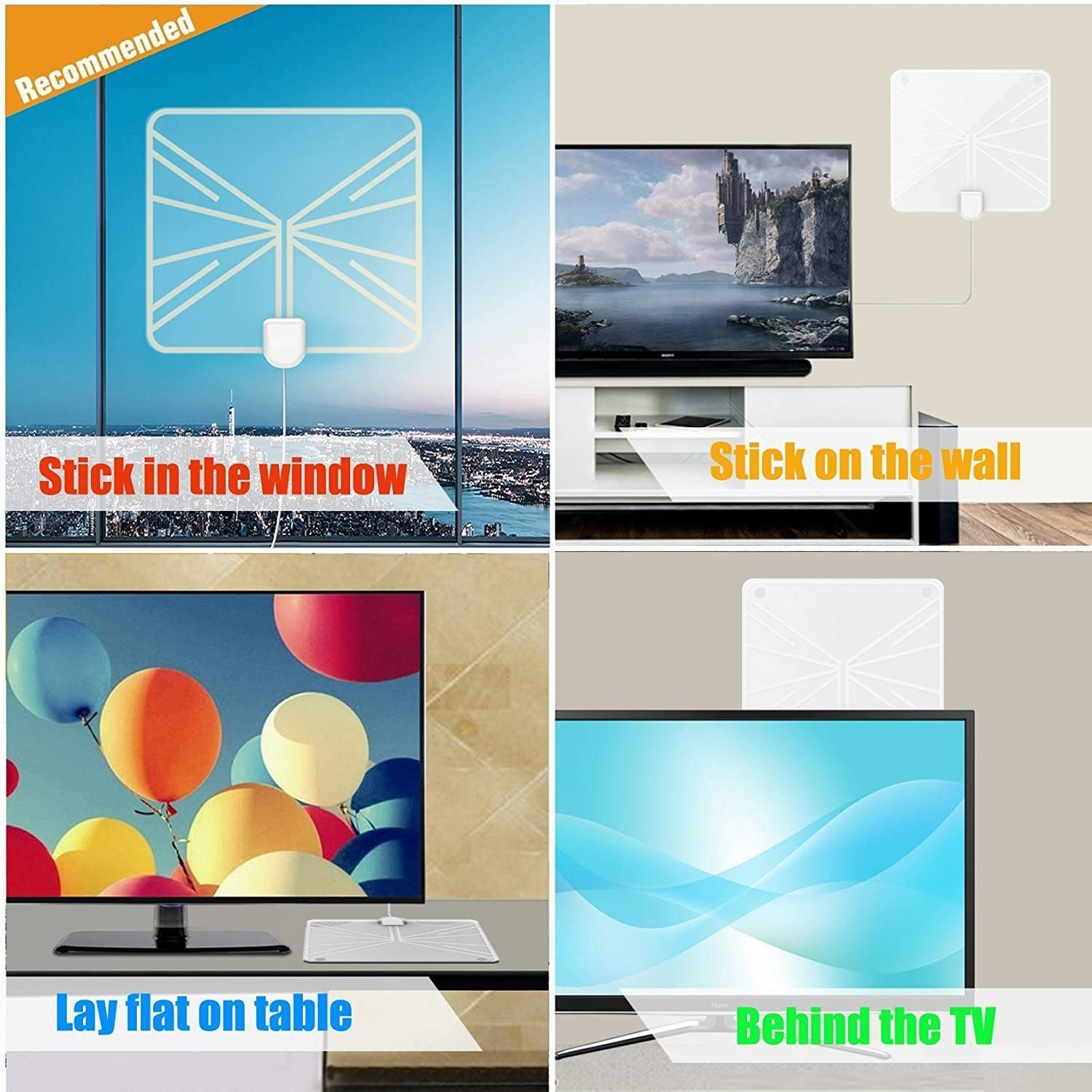 HD Digital Antenna Indoor TV Antenna Long Range Amplified HDTV Antenna 60 to 70 Miles with 13.12 Feet Coaxial Cable