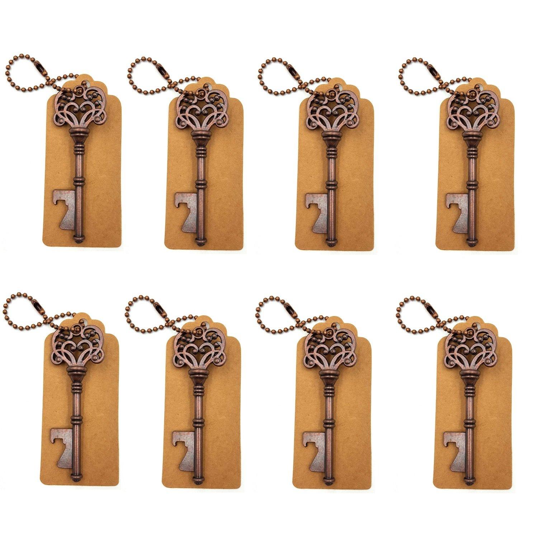 DerBlue 60 PCS Key Bottle Openers,Vintage Skeleton Key Bottle Opener,Skeleton Key Bottle Openers Wedding Favors Antique Rustic Decoration with Escort Tag Card (Bronze) COMINHKPR142047