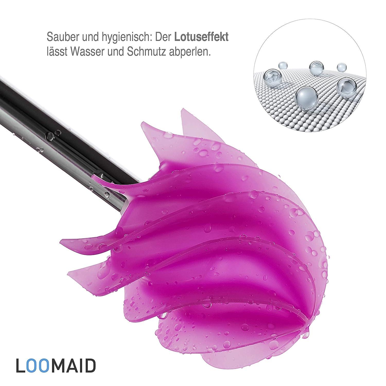 Pink Klob/ürste mit wei/ßer Garnitur LOOMAID Silikon WC-B/ürste mit Lotuseffekt hygienische Edelstahl Toilettenb/ürste