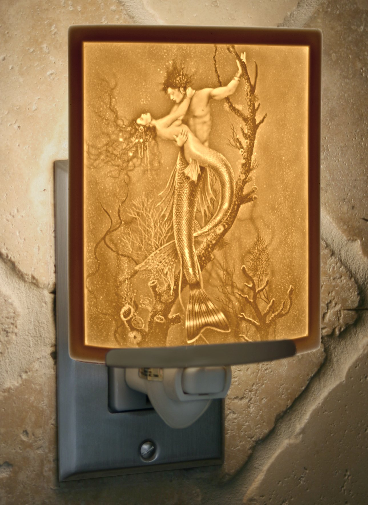 Mermaid & Merman - Curved Lithophane Porcelain Night Light - Art by David Delamare by The Porcelain Garden (Image #2)