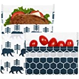 Lunchskins Reusable 2 Piece Food Storage Bag Set, 1 Sandwich Bag + 1 Snack Bag, Charcoal Bear