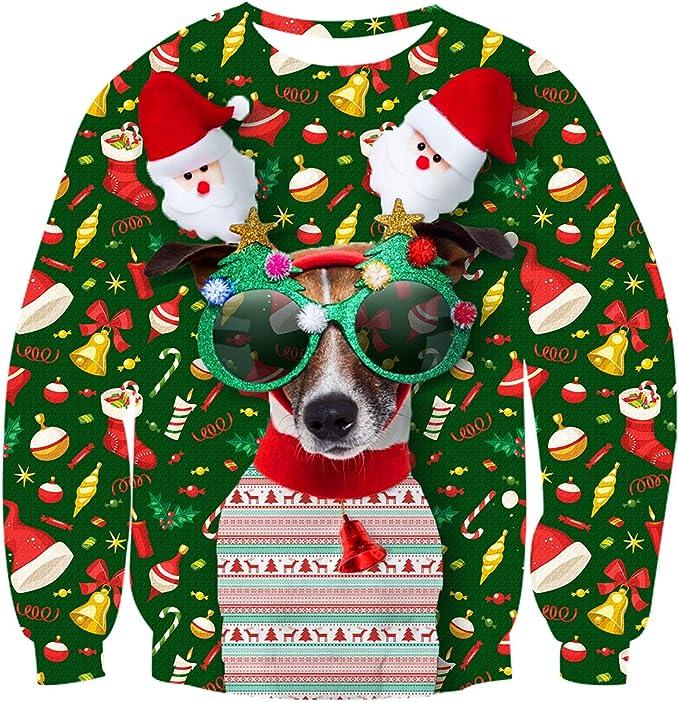 Idgreatim Unisex Ugly Christmas Crewneck Sweatshirt Novelty 3D Graphic Long Sleeve Ugly Christmas Sweater