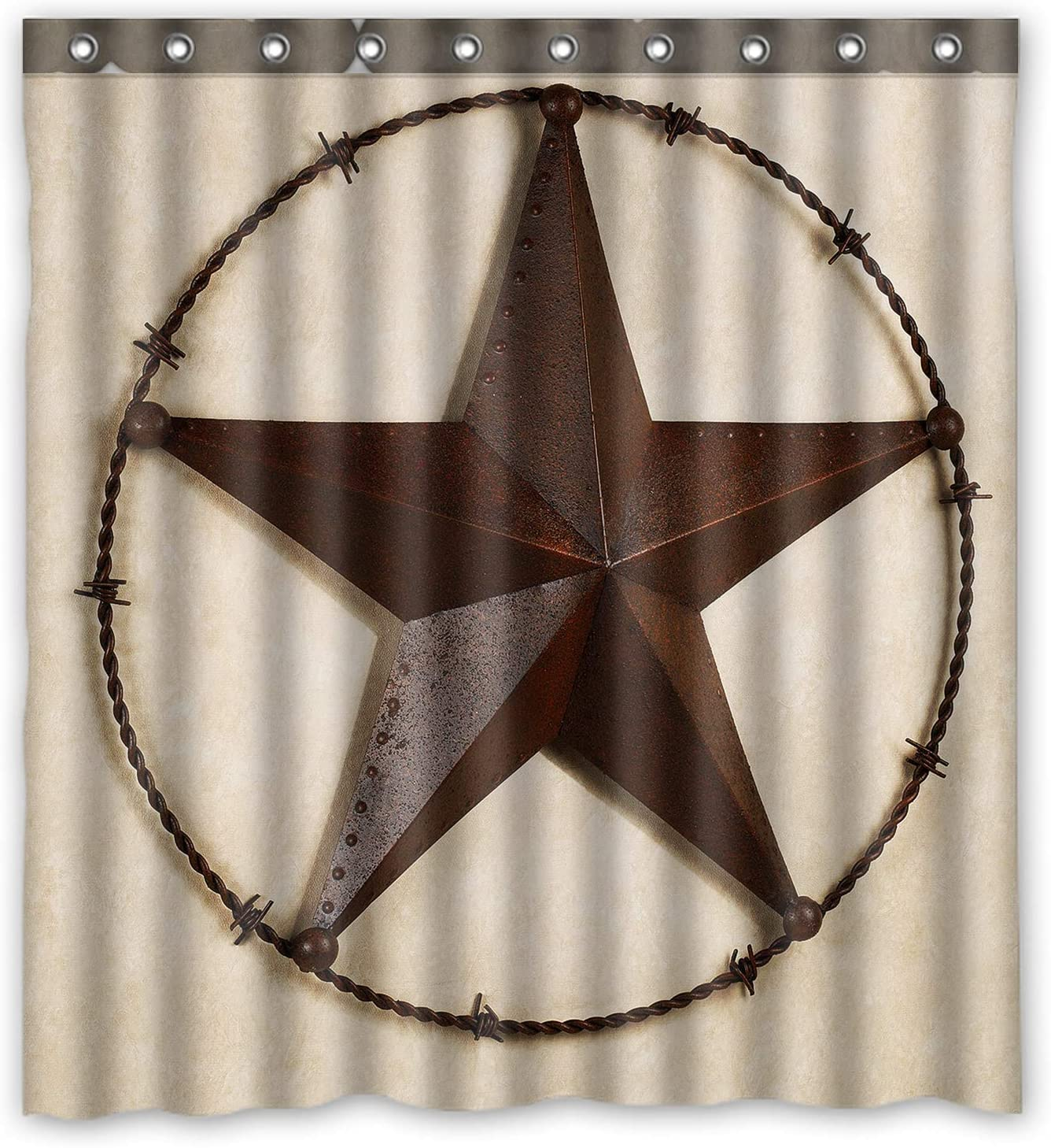 Retro Metal Western Texas Star Wood Waterproof Fabric Bath Shower Curtain 72X72/""
