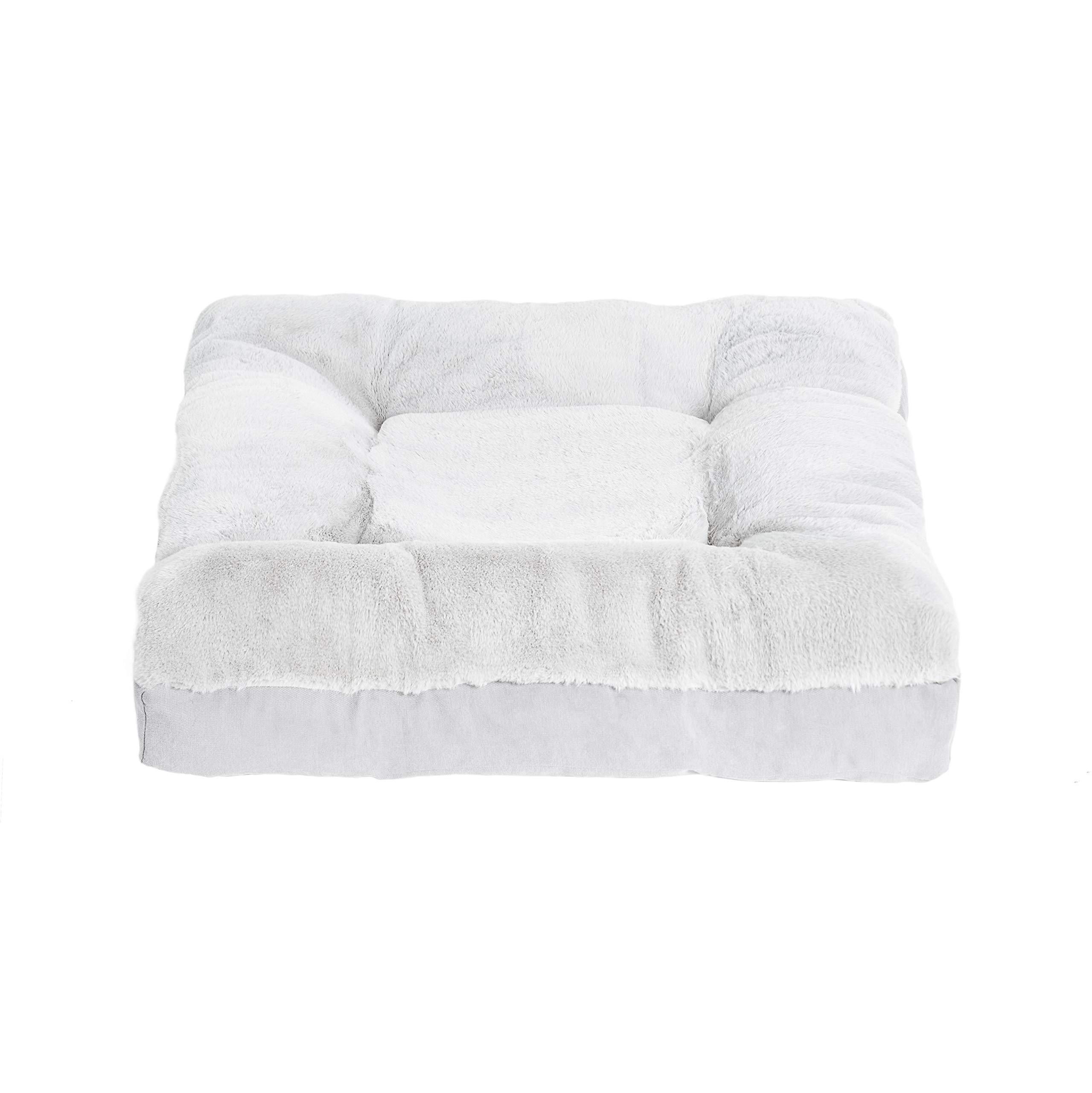 BarksBar Lazy Lounger - Large & Gray - Dual Layered Memory Foam & Orthopedic Foam Dog Bed Luxurious Faux Fur 38 x 38