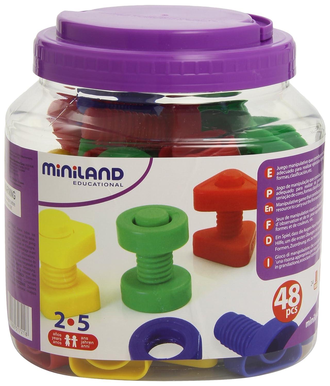Miniland - Juego educativo de tornillos y tuercas (plástico, 48 piezas) 50.31721