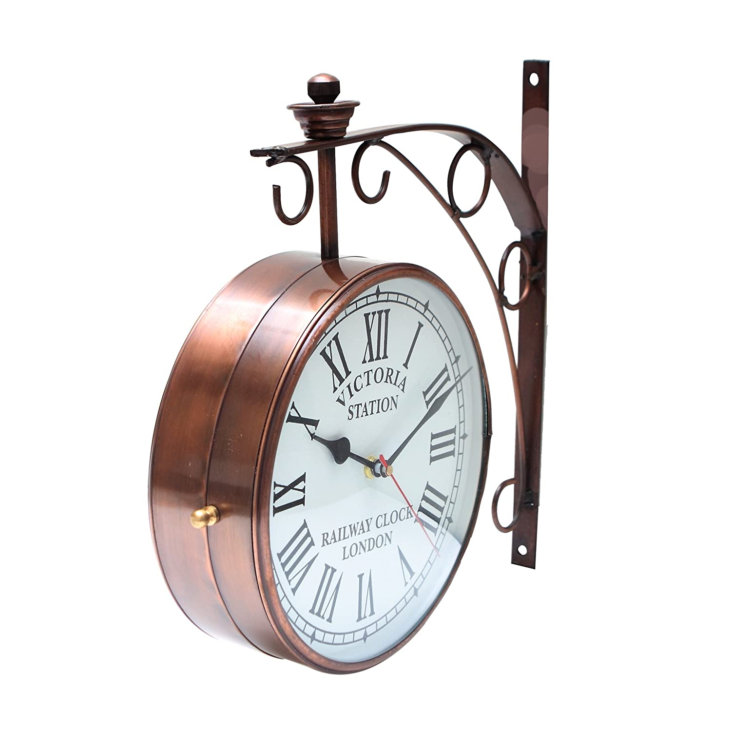 Buy bazaar pirates vintage style old style unique double side buy bazaar pirates vintage style old style unique double side antique railway station platform wall clock bronze 8 dia online at low prices in amipublicfo Gallery