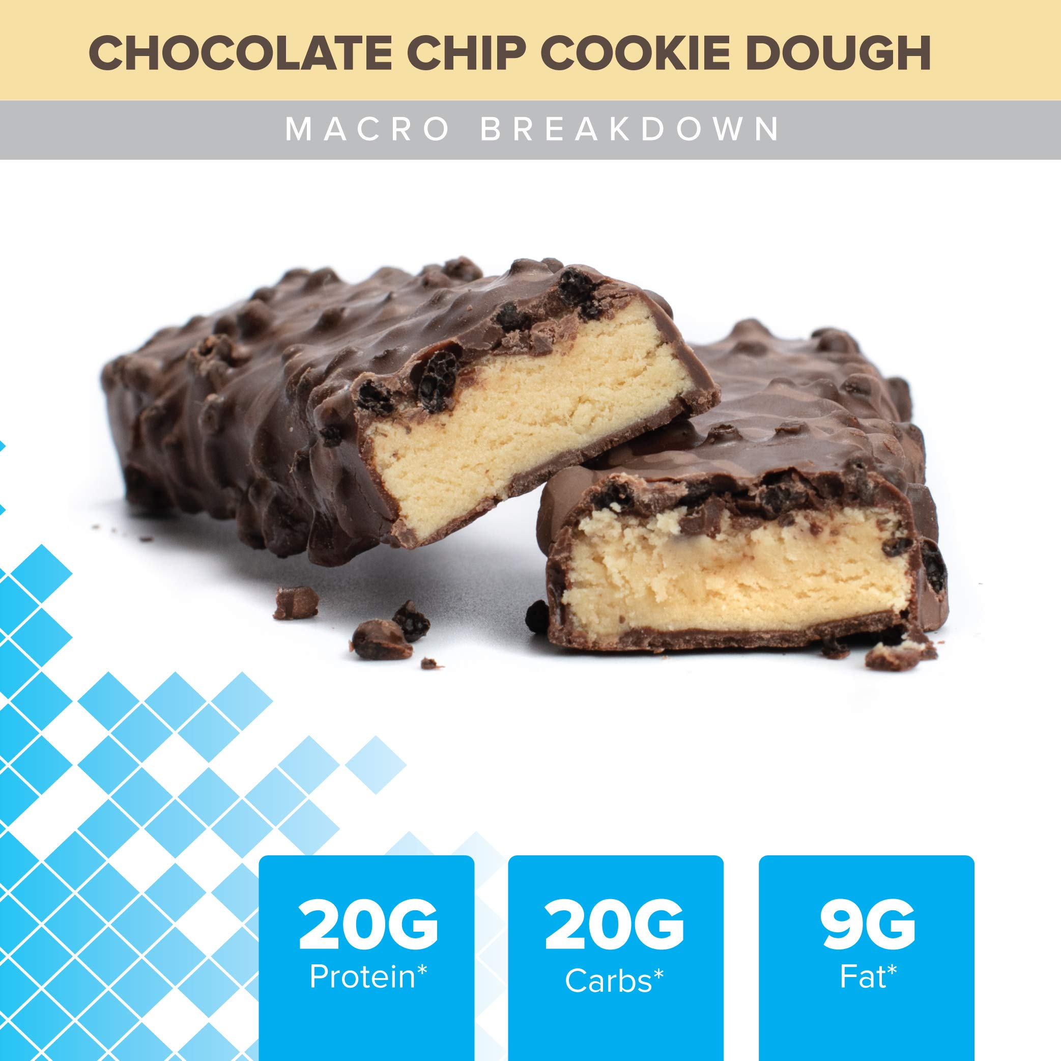 Bodybuilding Chocolate Chip Cookie Dough Signature Protein Crunch Bar | 20g Whey Protein Low Sugar | Gluten Free No Artificial Flavors | 12 Bars by Bodybuilding.com