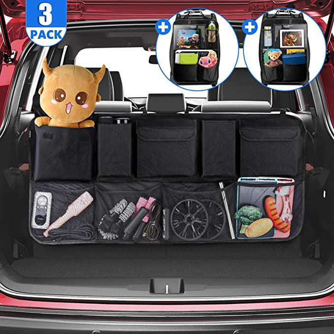 Tecboss Auto Rückenlehnenschutz 2 Stück Autositz Organizer Und 1 Kofferraumtasche Auto Multifunktionstaschen Und 12 9 Zoll Ipad Fach Passend Für Suv Schwarz Auto