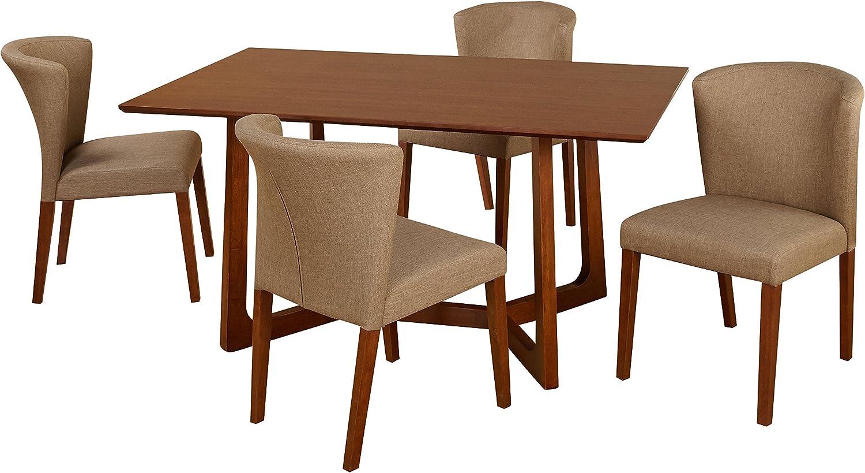 Target Marketing Systems Olivia Mid-Century Transition - Juego de Comedor con 4 sillas de Lino y Mesa de Comedor, Color Nogal Oscuro: Amazon.es: Juguetes y juegos