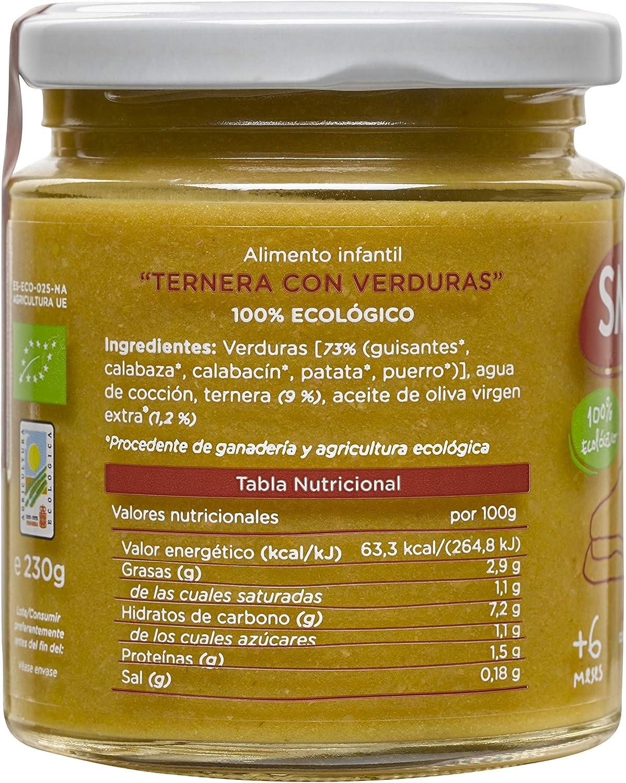 SMILEAT ternera con verduras 100% ecológica tarrito 230 gr