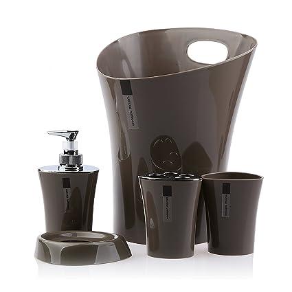 Beau 5 Piece Plastic Bathroom Accessory Set Soap Dish,soap Dispenser,toothbrush  Holder,tumbler