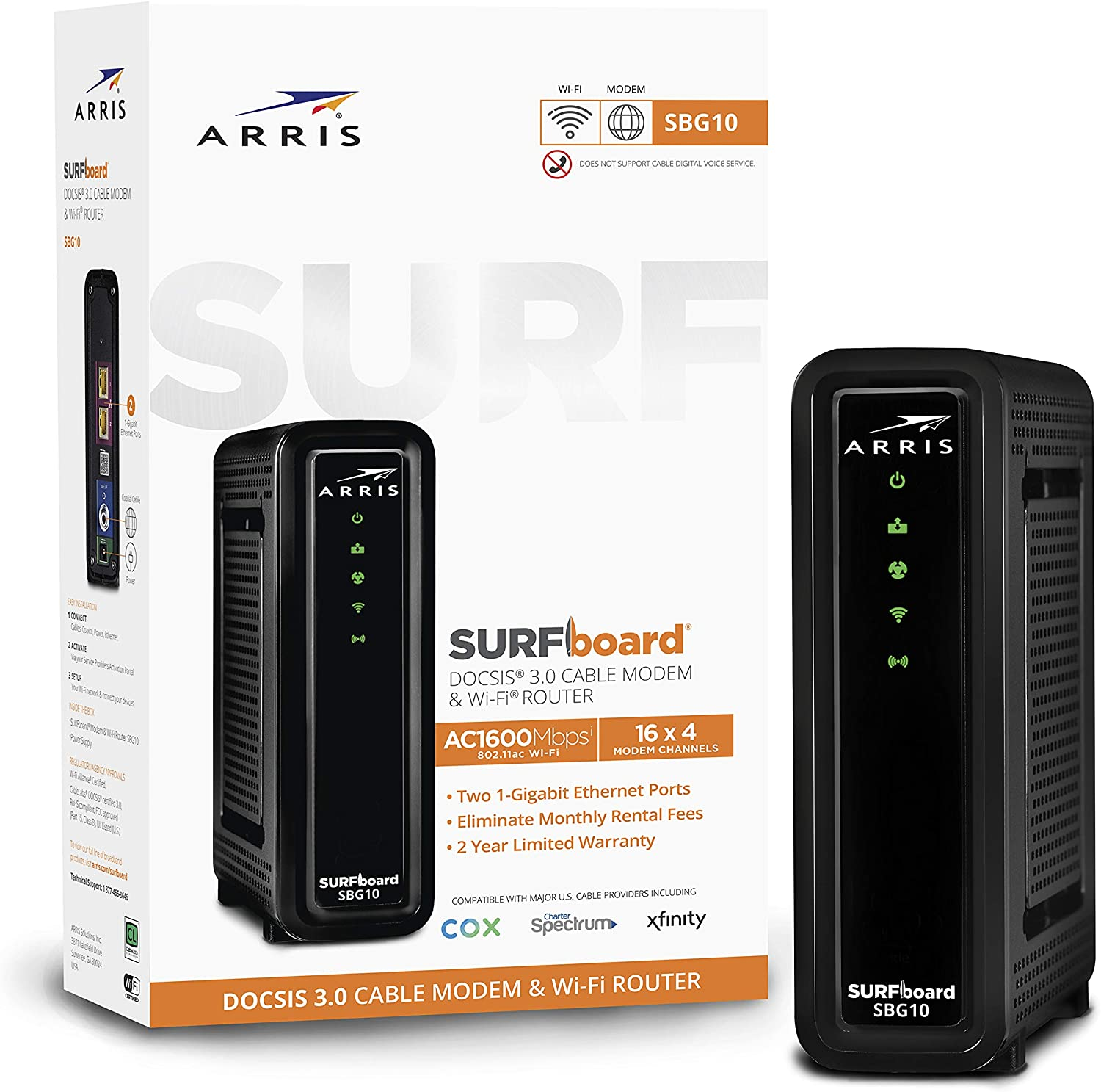 Amazon Com Arris Surfboard Sbg10 Docsis 3 0 Cable Modem Ac1600 Dual Band Wi Fi Router Approved For Cox Spectrum Xfinity Others Black Computers Accessories