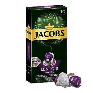 Jacobs Nespresso OriginalLine Compatible ALUMINIUM Capsules Lungo Intensity 8 Intenso 10 Single Servings (Pack of 5)