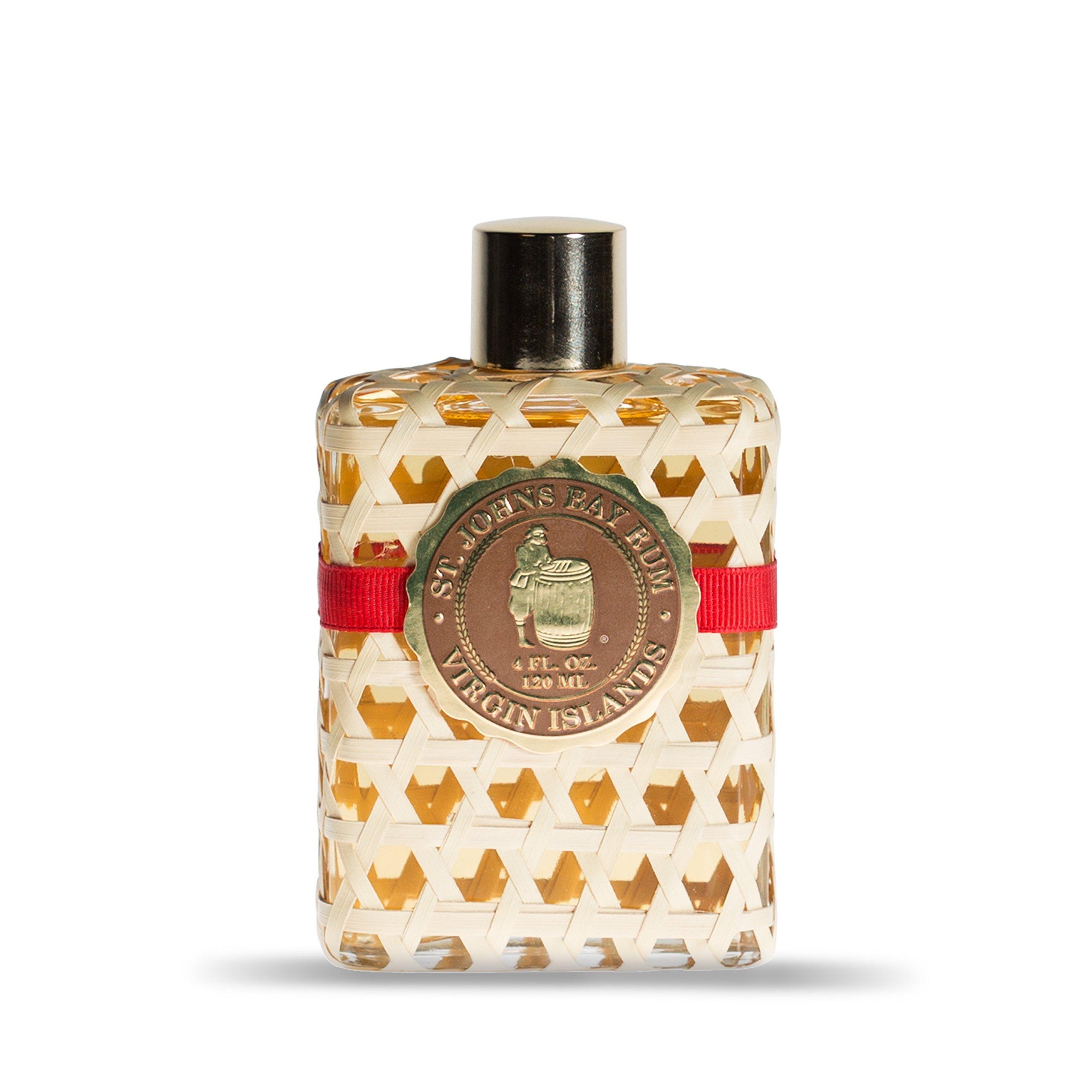 St Johns Bay Rum Aftershave Lotion/Cologne 4 Oz Splash. The Popular, Best Smelling Bay Rum for Guys. Premium Bay Leaf Oils. Signature Hand Woven Bottle. Handcrafted. St. Thomas, U.S. Virgin Islands