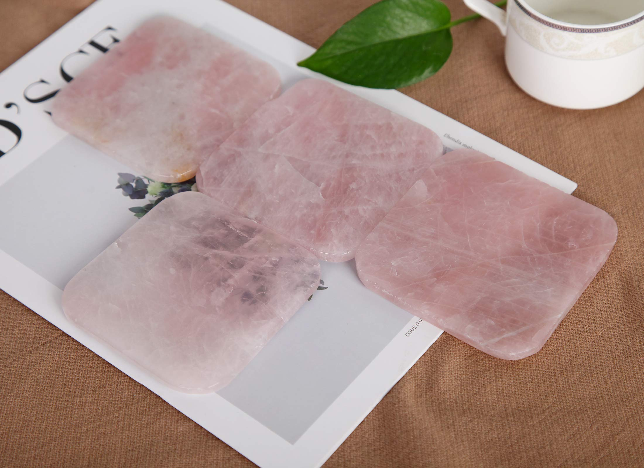 Rose Quartz Coasters Cup Mat Gemstone Geode Decor Slices Beverage Coasters for Drinks Gift with Rubber Bumper 3.5'' Set of 4 Square