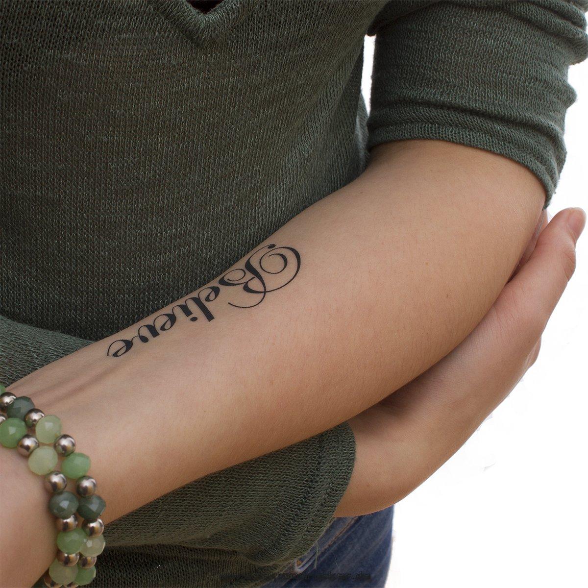 Believe diseño de tatuaje temporal letras en negro: Amazon.es: Belleza