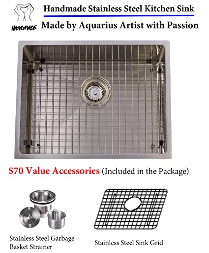 Unbeatable Price Package Deal Aquarius 16 Gauge Commercial Grade Single  Bowl Hand Made Square Stainless Steel