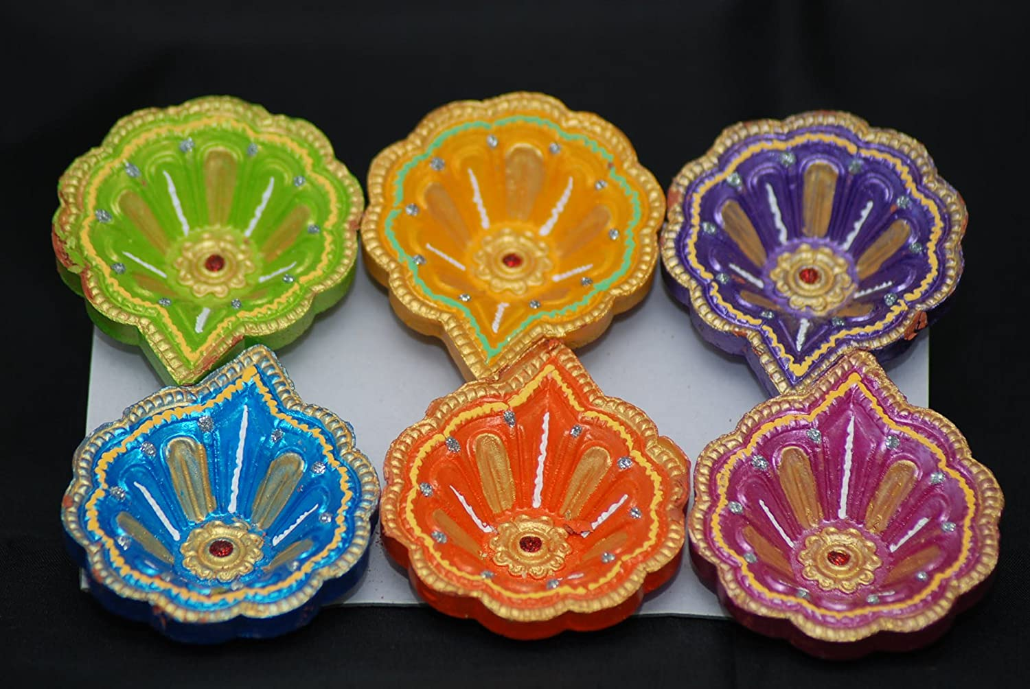 Assorted Colour Diwali Diya with Gold and Glitter Pack of 6 Gifts and More Gifts