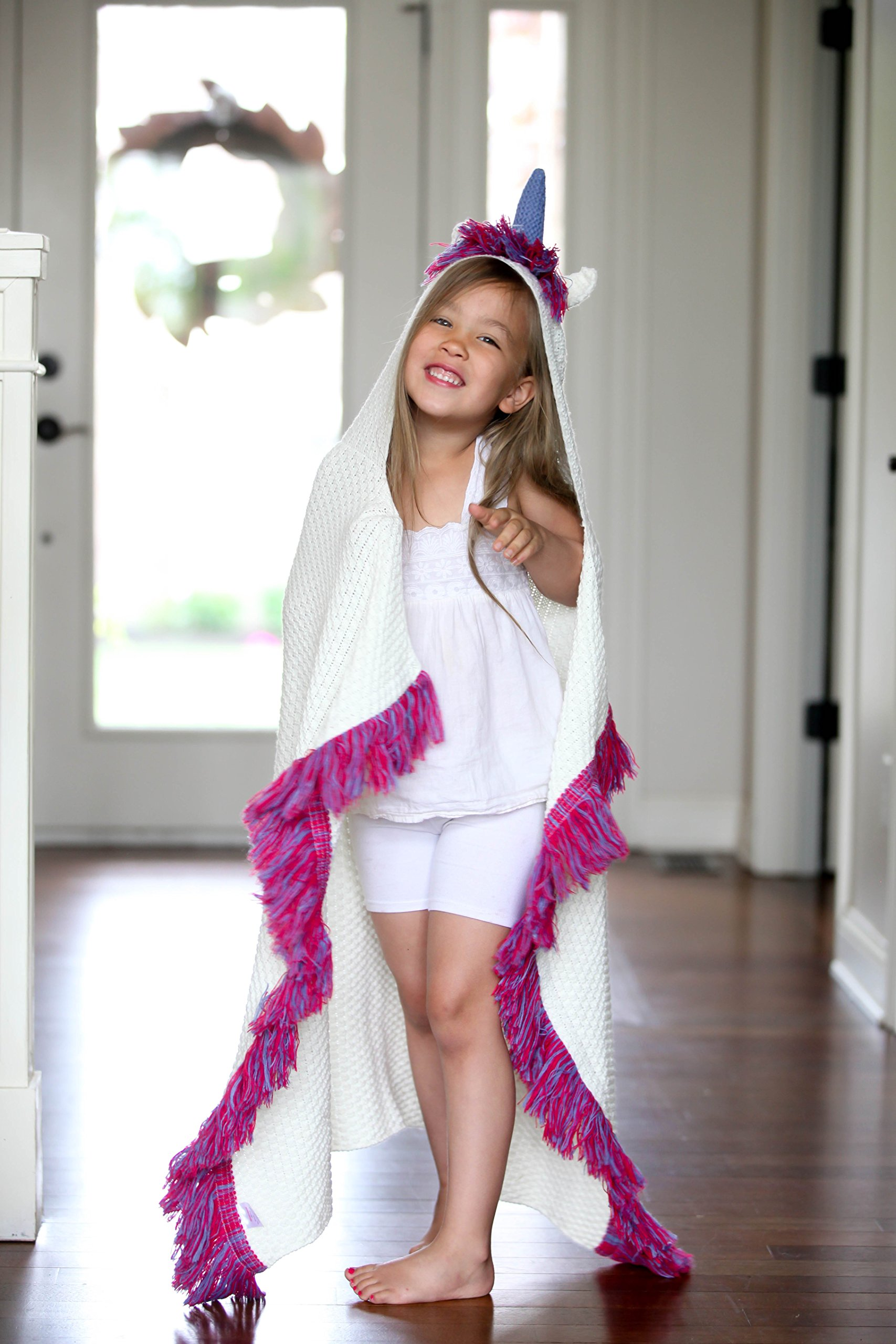 Born To Unicorn Blanket for Girls- Hooded, Kids Pink, Purple Wearable Crochet Knit w/Hood Throw Blankets Wrap, Toddlers Cute Plush Knitted Hoodie, Soft Kids Blanket Gift, Cozy Magic Cloak w/Hood by Born To Unicorn (Image #3)