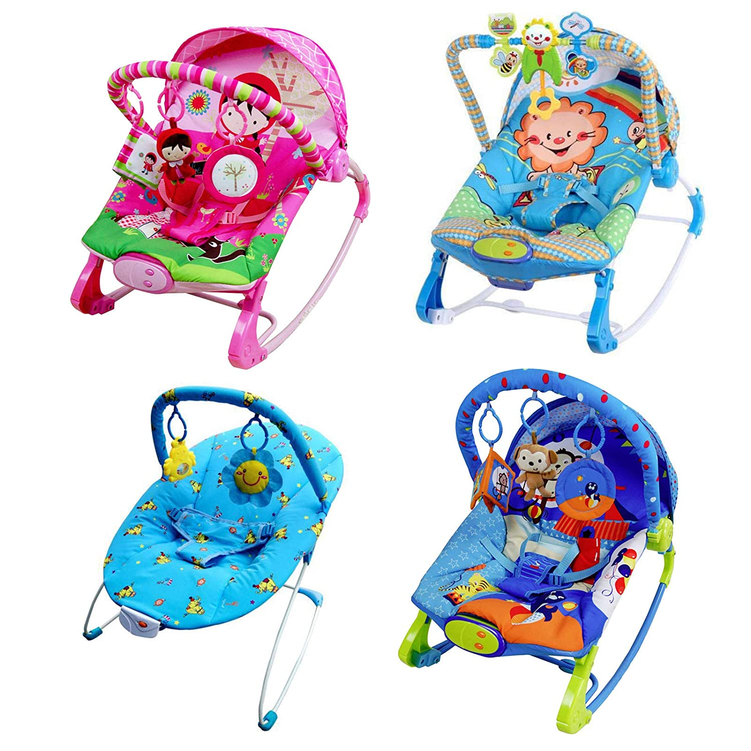 Baby Rocker Bouncer Reclining Chair Soothing Music Vibration Toys (Red Riding Hood) Global Sales Store