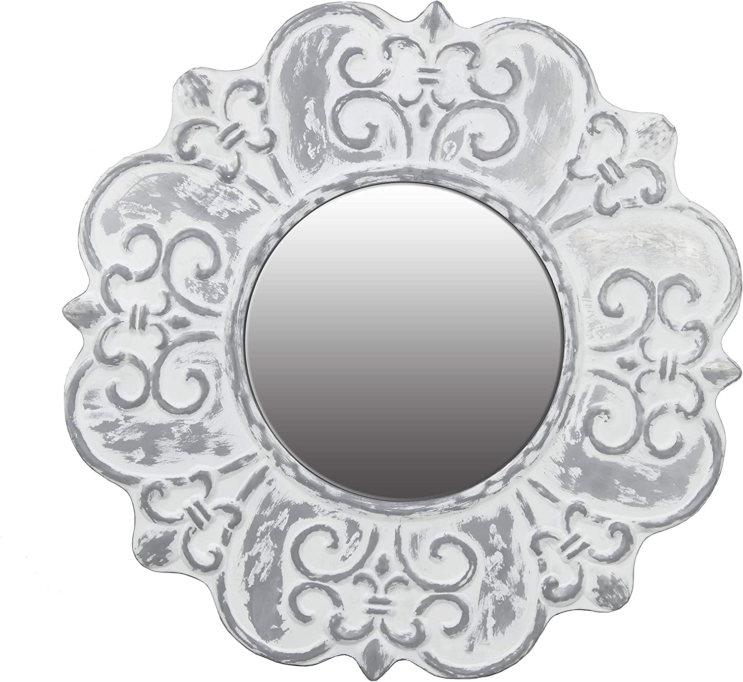 NIKKY HOME 23 Inch Decorative Metal Round Wall Mirror, White