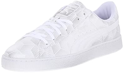 PUMA Men's Basket Classic Metal Fashion Sneakers, White, 7.5 D US