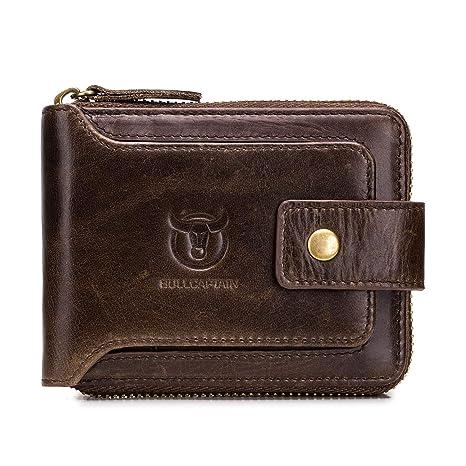 economico per lo sconto 02900 a83a2 Portafoglio Uomo Pelle Vera RFID Portamonete Piccolo per Carte di Credito,  Monete e Banconote (marrone)