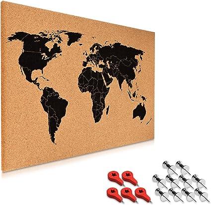 Navaris tablero de notas de corcho - tablero mapa del mundo 60x40 cm - en diseño de mapamundi - con set de montaje y 15 chinchetas: Amazon.es: Oficina y papelería
