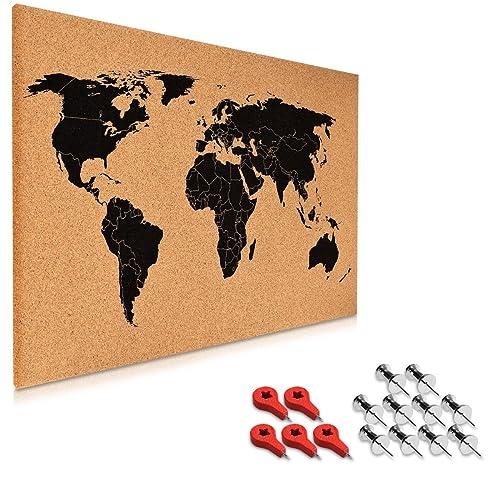 Milimetrado world map cork pin board with black pine wood frame 50 x navaris cork bulletin board 60 x 40 cm push pin memo corkboard in world map gumiabroncs Gallery