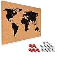 Navaris tableau mémo en liège - 60x40 cm panneau mémo support en liège avec 15 punaises de bureau - kit de montage - design carte du monde