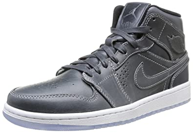a03c0fdc3b7b8 Jordan Nike Men s Air 1 Mid Nouveau Wolf Grey Black White Basketball Shoe 8