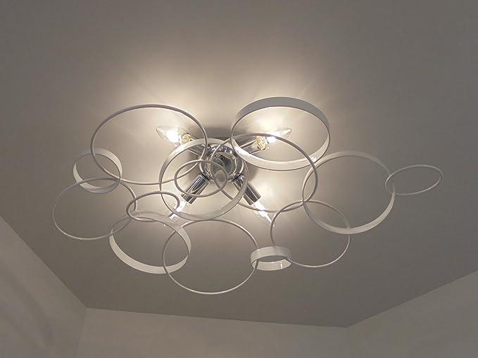 Plafoniere Da Soffitto In Offerta : Plafoniera lampada da soffitto design moderno anelli metallo cromato